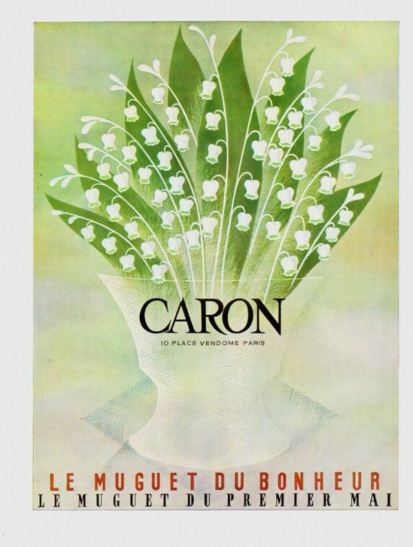 1960 advertisement for Caron's Muguet du Bonheur, with green and white lilies of the valley.