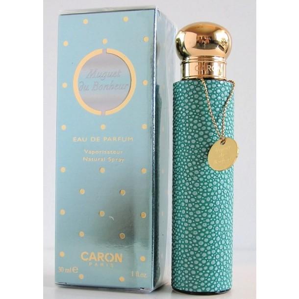 Green Galuchat perfume bottle with Caron's Muguet du Bonheur eau de parfum