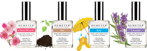 Row of Demeter Fragrance Library cologne bottles