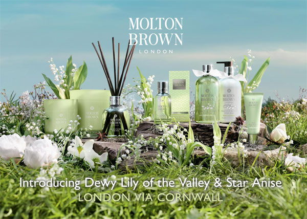 Molton Brown's new line of Dewy Lily of the Valley and Star Anise fragrances