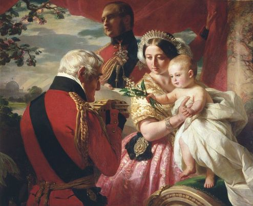 Queen Victoria on May Day 1851 receiving lilies of the valley from the Duke of Wellington, in a portrait by Winterhalter
