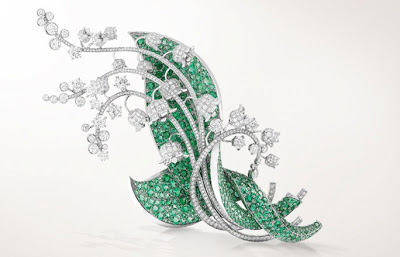 Van-Cleef-and-Arpels-Muguet-clip-platinum-diamonds-and-emeralds