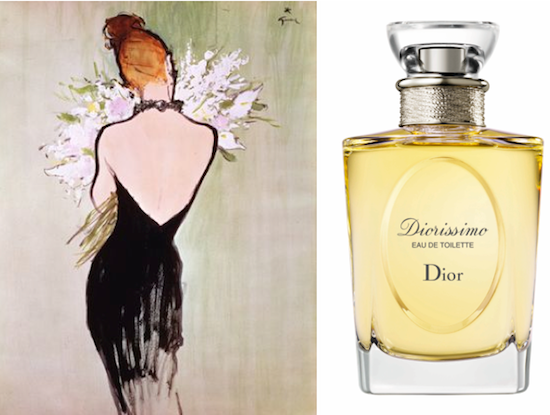 Vintage ad and current bottle for Diorissimo eau de toilette, by Christian Dior.