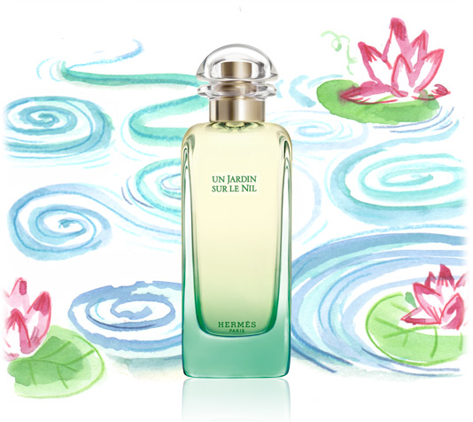 Bottle of Hermes fragrance Un Jardin Sur le Nil against background watercolor of lotus flowers