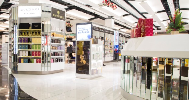 World Duty Free boutique for niche and high-end designer fragrances and perfumes in Heathrow Airport, Terminal 5.