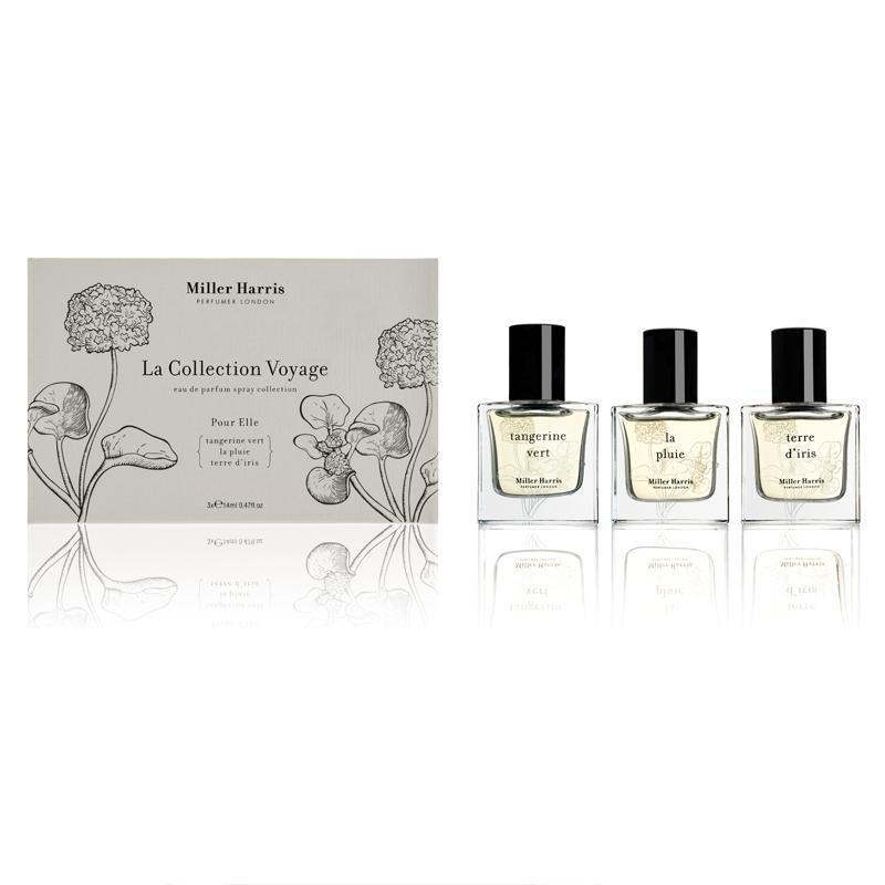 Set of three Miller Harris fragrances, La Collection Voyage Pour Elle