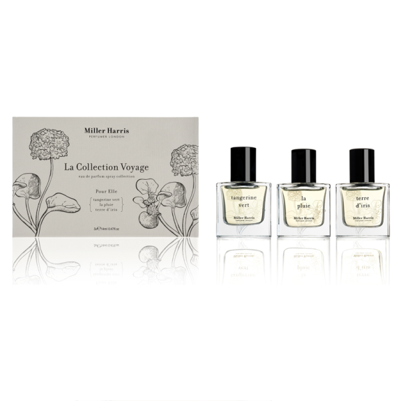 Set of three Miller Harris fragrances, La Collection Voyage Pour Elle