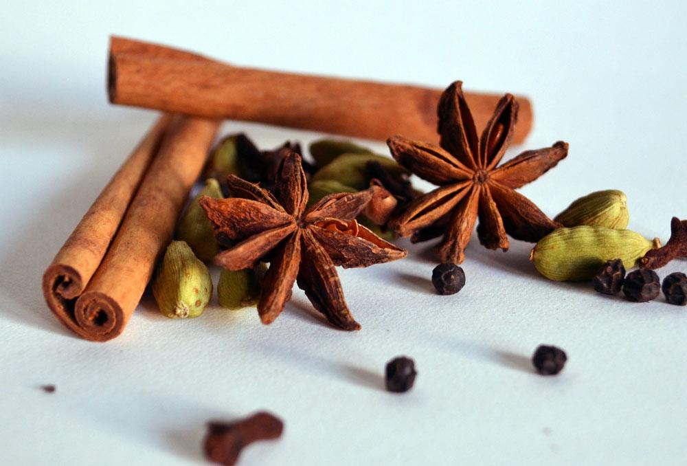 Chai teas spices with star anise, cardamom, cinnamon