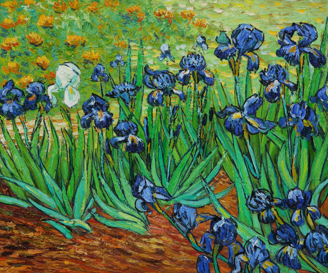 Oil painting of iris flowers with lone white iris, by Vincent van Gogh