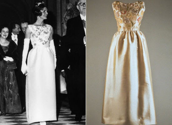 Jackie Kennedy wears Givenchy evening gown to Versailles on state visit to France