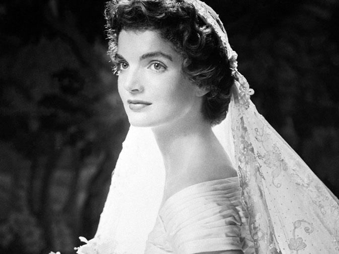 Jackie Kennedy's portrait in wedding dress