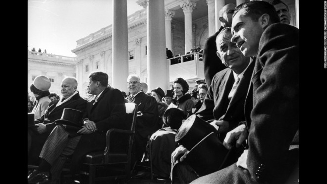 Jackie Kennedy, JFK, Johnson, Nixon, Eisenhower at JFK's inauguration in 1961