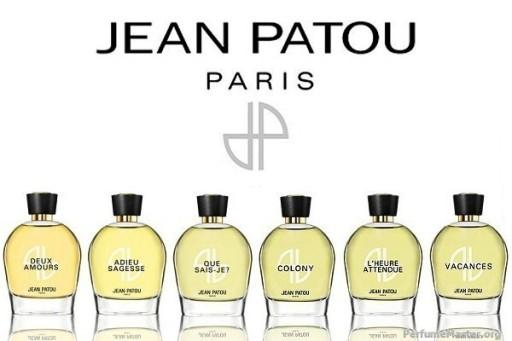 Six bottles of reformulated classic Jean Patou perfumes: Duex Amours, Adieu Sagesse, Que Sais-Je?, Colony, L'Heure Attendue, Vacances