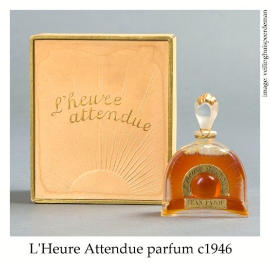 Vintage bottle and package of L'Heure Attendue perfume by Jean Patou