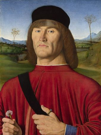 Renaissance portrait of nobleman holding carnation by Andrea Solario