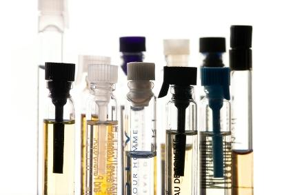 Perfume samples in glass vials