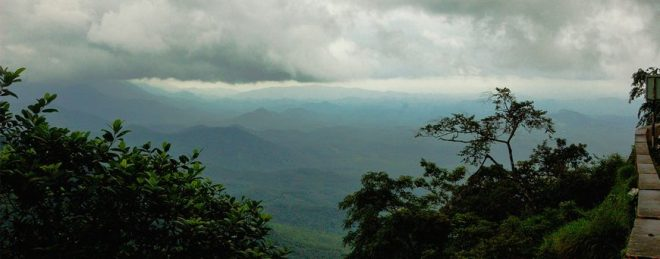 Clouds over mountains in Kerala, India, during monsoon season.