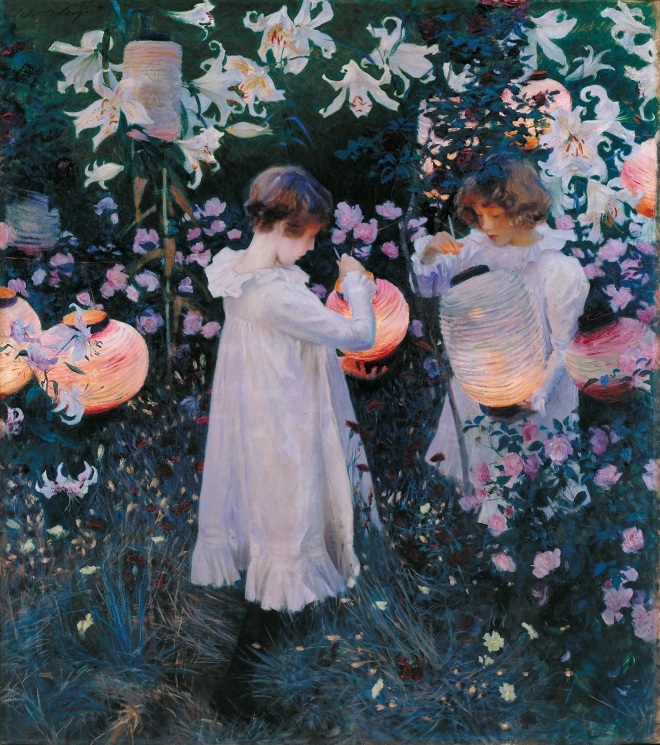 Painting by American artist John Singer Sargent; Carnation, Lily, Lily, Rose