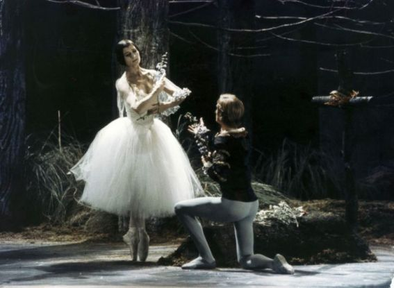 Ballerina Carla Fracci as Giselle with Erick Bruhn as Albrecht; American Ballet Theatre