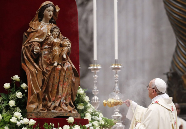 Pope Francis, incense, Mary, and Christ Child