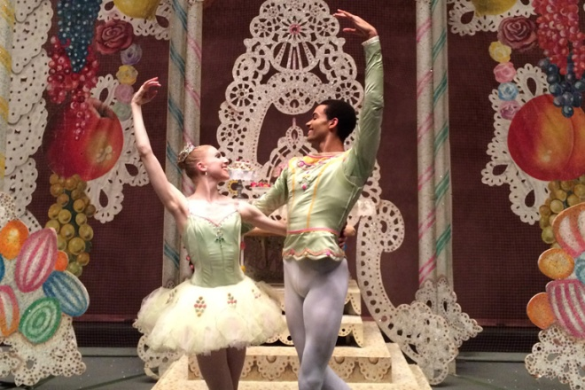 Two ballet dancers in the New York City Ballet's Nutcracker