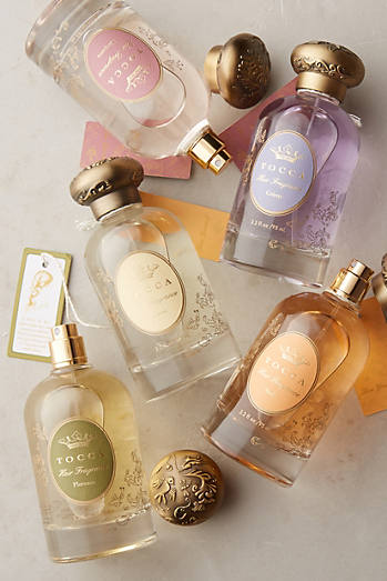 Bottles of Tocca hair fragrances
