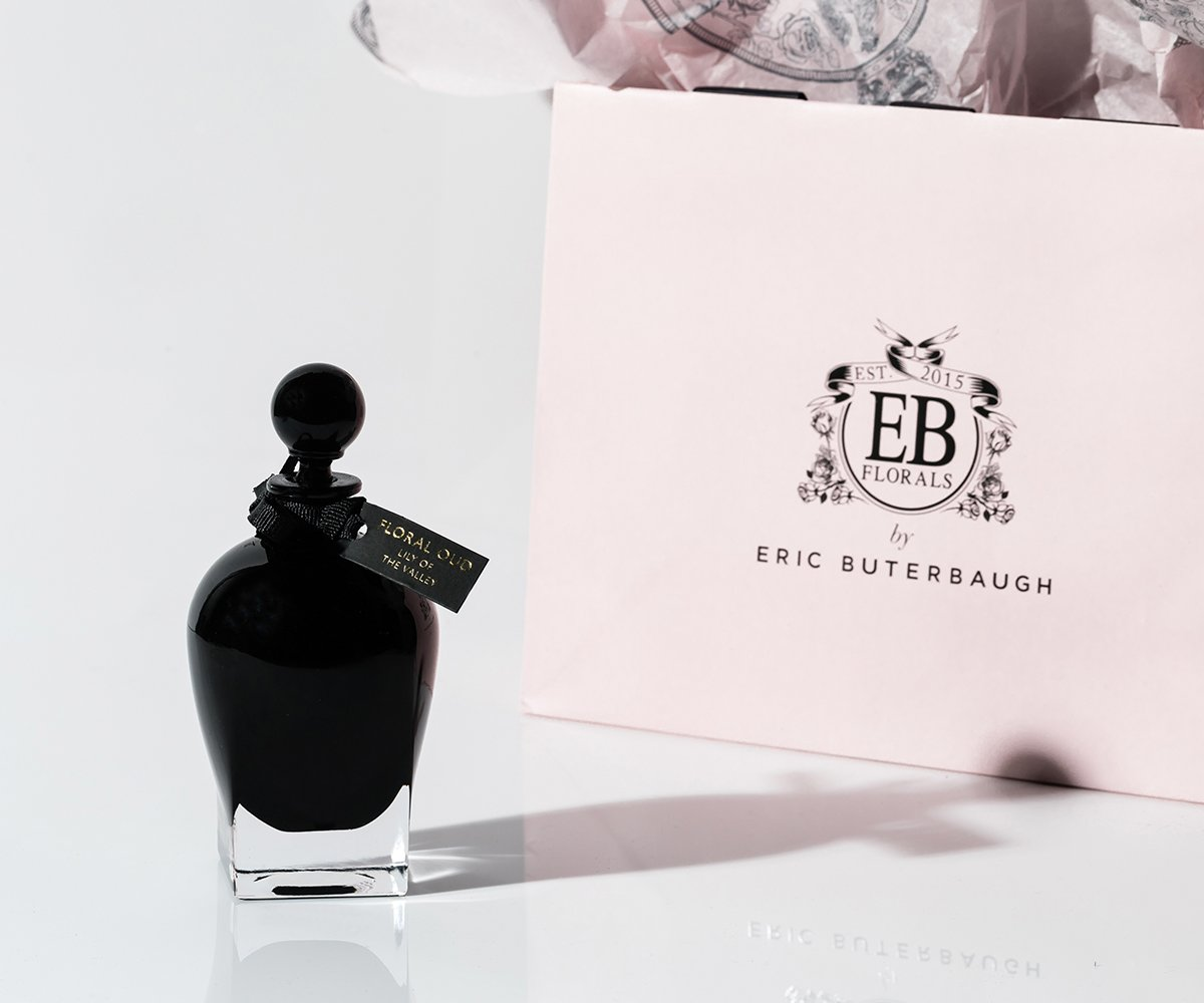 Black bottle of EB Florals by Eric Buterbaugh, Floral Oud Lily of the Valley