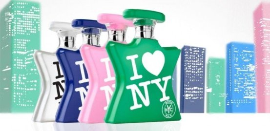 Bottles of different Bond No. 9 I Love NY fragrances