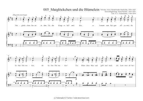 """Sheet music for """"Maiglockchen und die Blumelein"""" by Felix Mendelsohn."""