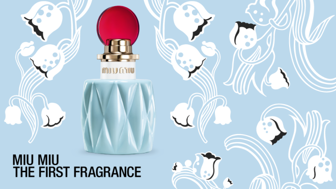 Bottle of Miu Miu fragrance and lily of the valley textile