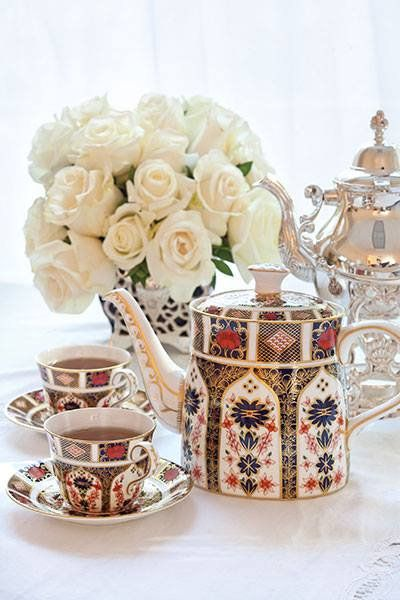 Royal Crown Derby Imari pattern tea set with white roses, from TeaTime Magazine