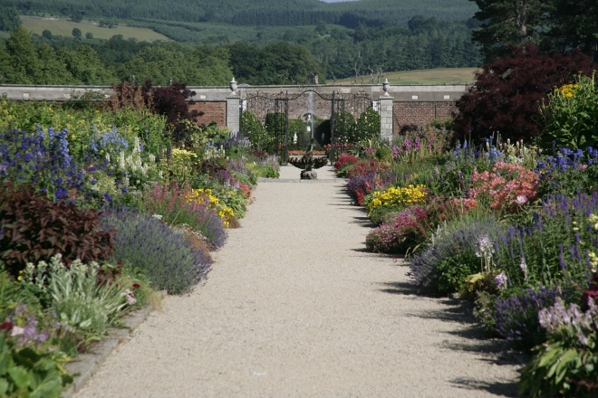 Herbaceous borders at gardens of Powerscourt, Ireland