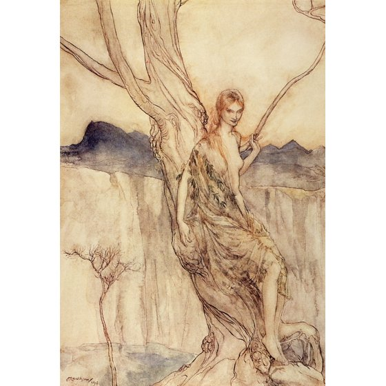 Illustration of a dryad tree nymph by Arthur Rackham.