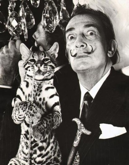 Artist Salvador Dali with pet ocelot Babou