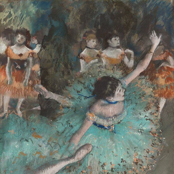 Pastel of ballerina tilting onstage, by Edgar Degas