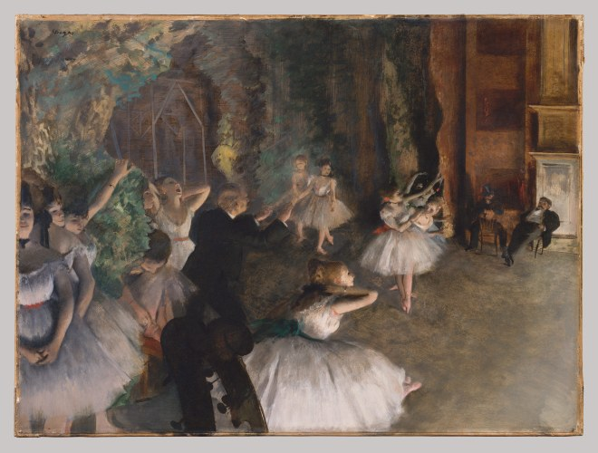 Painting and pastel by Edgar Degas of Paris Opera ballet dancers rehearsing.