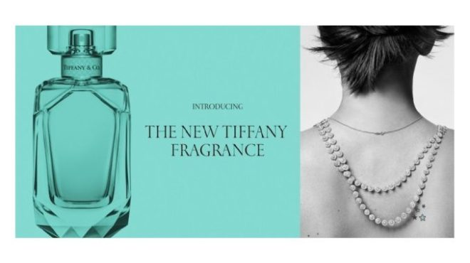 Bottle of Tiffany & Co. eau de parfum with jewelry