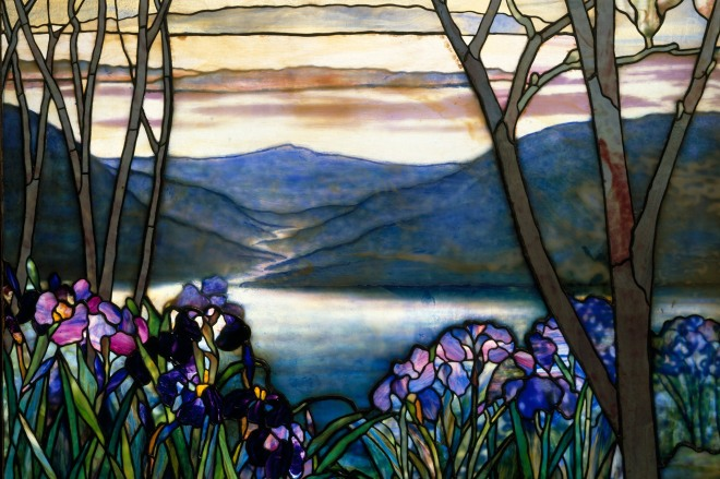 Memorial stained glass window, 1908, Louis Comfort Tiffany; Magnolias and Irises, Metropolitan Museum of Art.