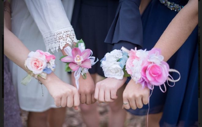 Wrist corsages at high school formal prom dance