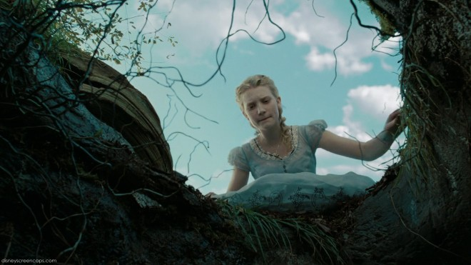 Mia Waskikowska in Tim Burton's Alice in Wonderland, by Disney, falling into rabbit-hole
