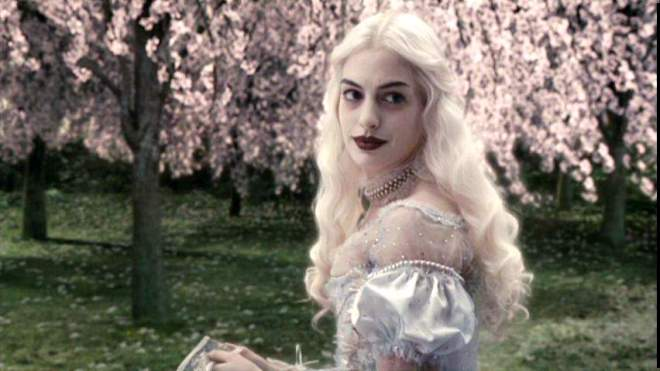Anne Hathaway in Disney Tim Burton's Alice in Wonderland movie.