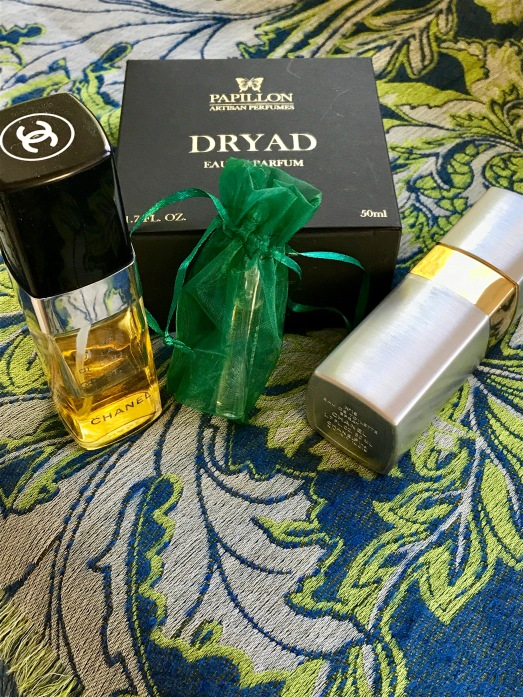 Green fragrances: Chanel No. 19, Cristalle, Papillon Dryad, on Liberty shawl