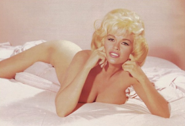 Blonde movie star Jayne Mansfield as a centerfold model.