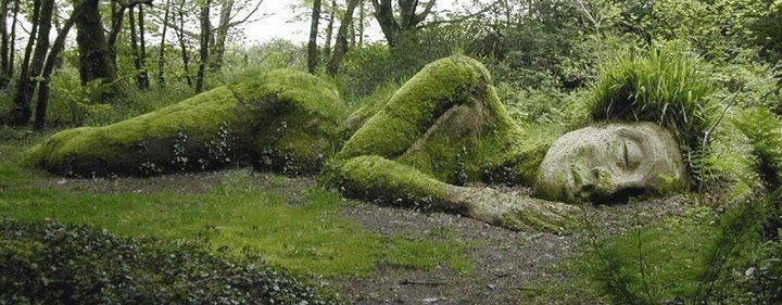 Outdoor sculpture of the Mud Maid, Lost Gardens of Heligan, Cornwall