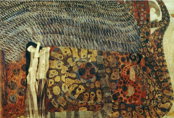 Center panel of Gustav Klimt's Beethoven Frieze, Gnawing Grief