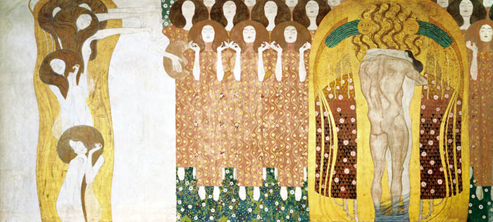 Gustav Klimt's Beethoven Frieze, with choir of angels and human happiness