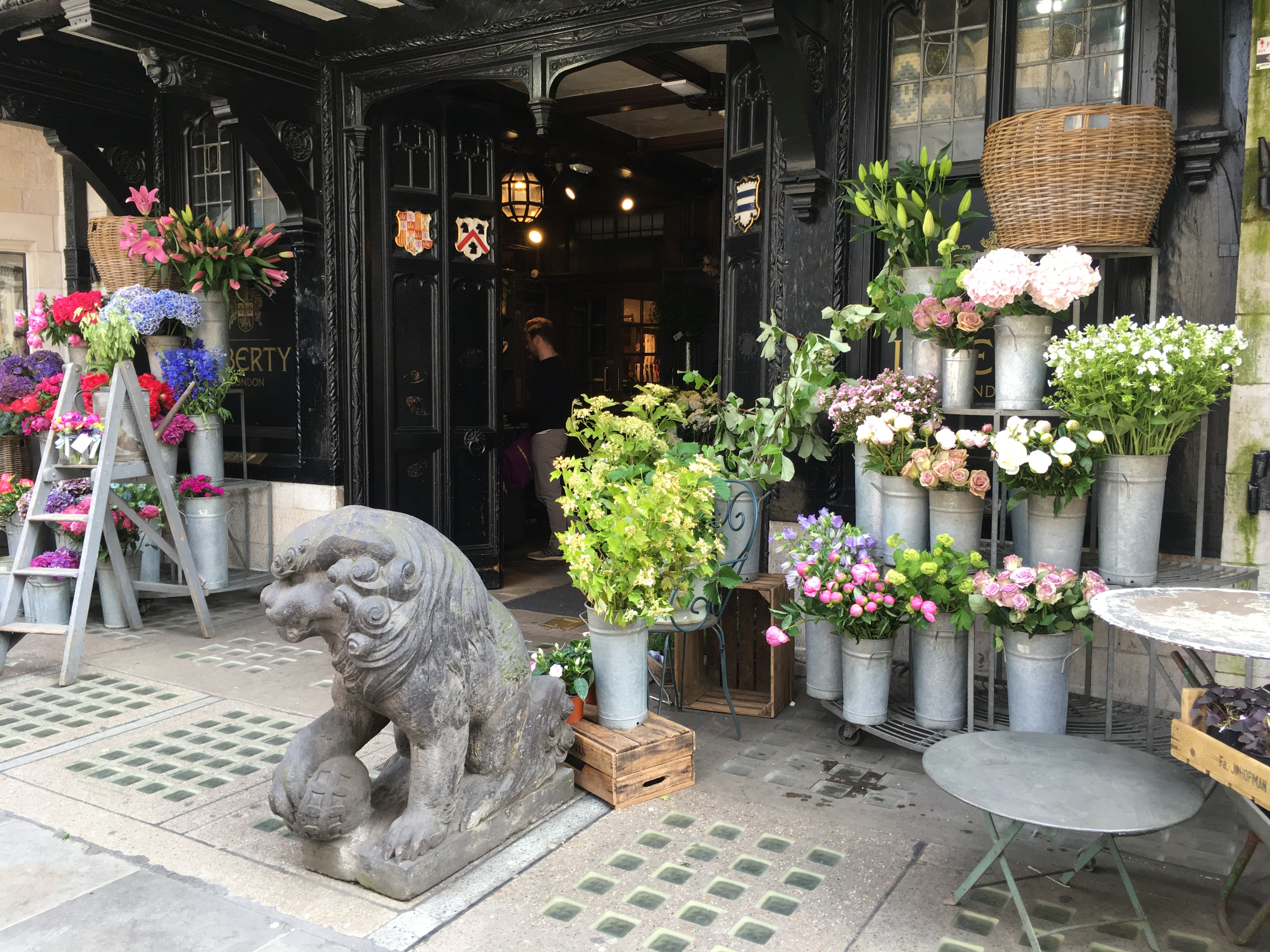 Flowers and buckets outside Liberty London florist store