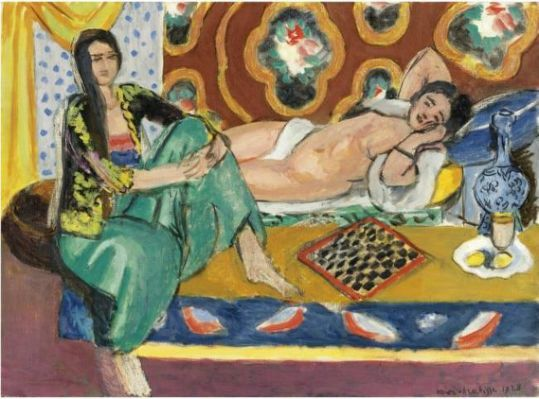 Oil painting of odalisques playing checkers, by Henri Matisse