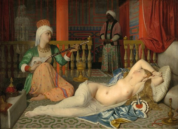 Painting of an odalisque in a harem with slave and eunuch, by Jean August Dominique Ingres; Fogg Art Museum.