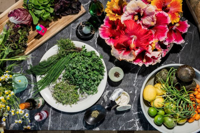 Flower-based salad and recipe by perfumer Ezra Woods.